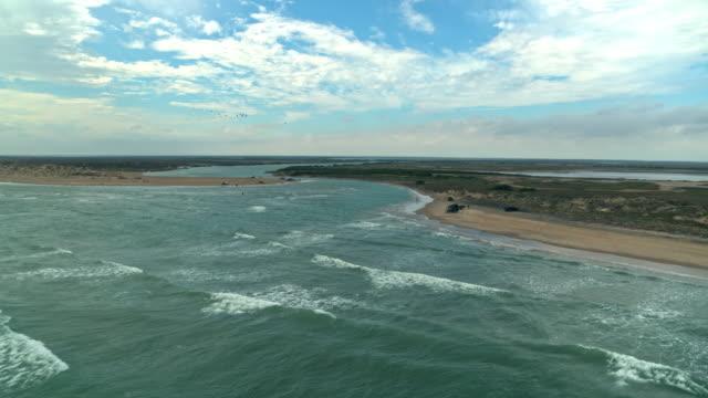 estuary of rio grande river into sea - bay of water stock videos & royalty-free footage