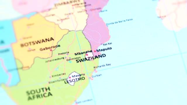 vídeos de stock, filmes e b-roll de áfrica suazilândia - eswantini do mapa do mundo - áfrica meridional