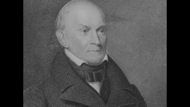 etchings of us historical figure/president john quincy adams - president stock videos & royalty-free footage