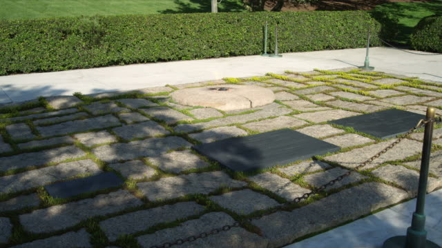 Eternal Flame at JFK grave in Arlington National Cemetery, Virginia. Shot in May 2012.