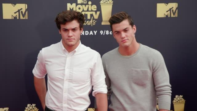 Ethan Dolan and Grayson Dolan at 2018 MTV Movie TV Awards Arrivals at Barker Hangar on June 16 2018 in Santa Monica California