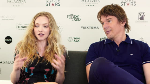 ethan hawke, amanda seyfried on bring a new born child into the world, the earth slowly dying at 'first reformed' interviews - 74th venice... - 第74回ベネチア国際映画祭点の映像素材/bロール