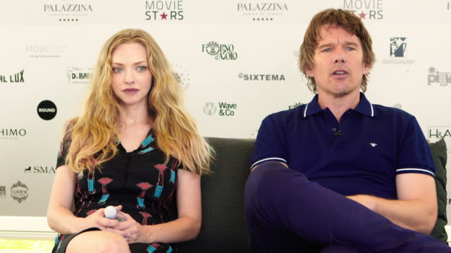ethan hawke, amanda seyfried on john brown, protesting, standing rock indian reservation at 'first reformed' interviews - 74th venice international... - 74th venice film festival stock videos & royalty-free footage