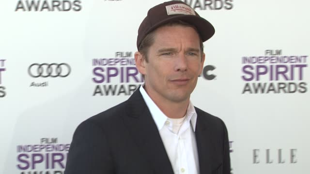 ethan hawke at the 2012 film independent spirit awards - arrivals on 2/25/12 in santa monica, ca. - independent feature project stock videos & royalty-free footage