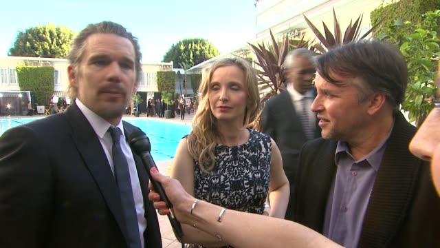 interview ethan hawke julie delpy richard linklater on what this award season has been like for them at the 86th academy awards nominee luncheon... - neckwear stock videos and b-roll footage