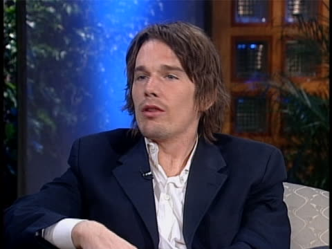 ethan hawke talks about his character in the film training day during a 2001 interview with matt lauer on the today show. - matt lauer stock videos & royalty-free footage