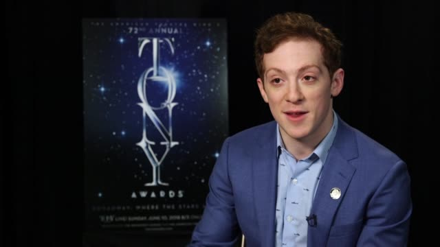 interview ethan slater on where he was when he found out about his nomination at the 2018 tony awards meet the nominees press junket on may 01 2018... - annual tony awards stock videos and b-roll footage