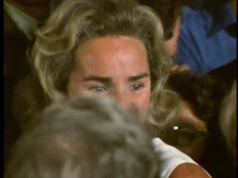 cu of ethel kennedy widow of robert f kennedy mingling with guests at the opening of the john f kennedy center for the performing arts in washington... - john f. kennedy center for the performing arts stock videos & royalty-free footage