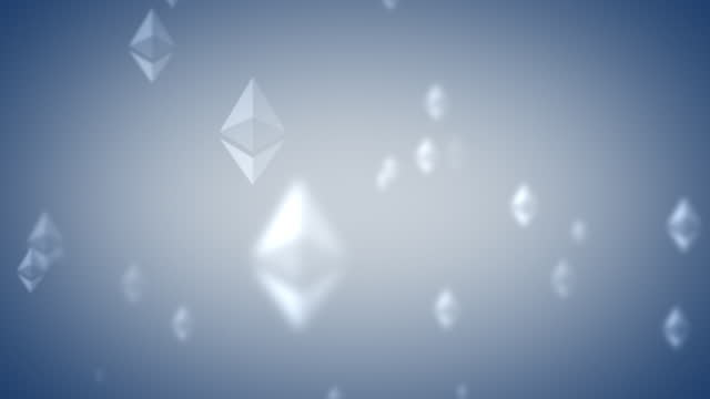ethereum eth nft logo icon looping background glowing light blue icon on pale gray background - loopable moving image stock videos & royalty-free footage