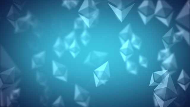 ethereum eth nft spinning logo icon looping background glowing blue on sea blue background - loopable moving image stock videos & royalty-free footage