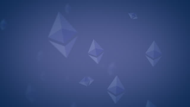 ethereum eth nft spinning logo icon looping background pale indigo on dark blue - loopable moving image stock videos & royalty-free footage