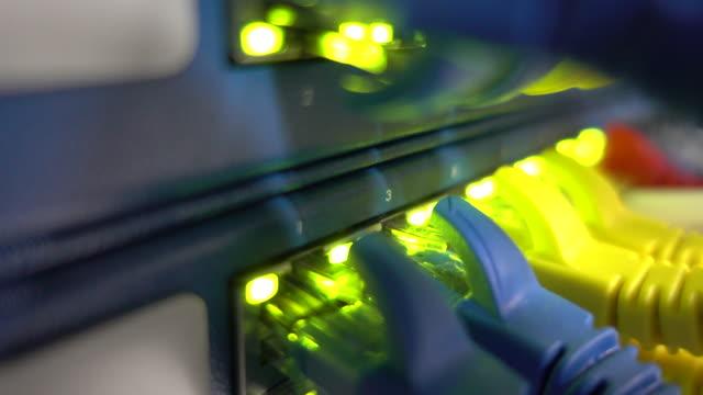 イーサネットスイッチがコンピュータケーブルで点滅 - ワイヤー点の映像素材/bロール