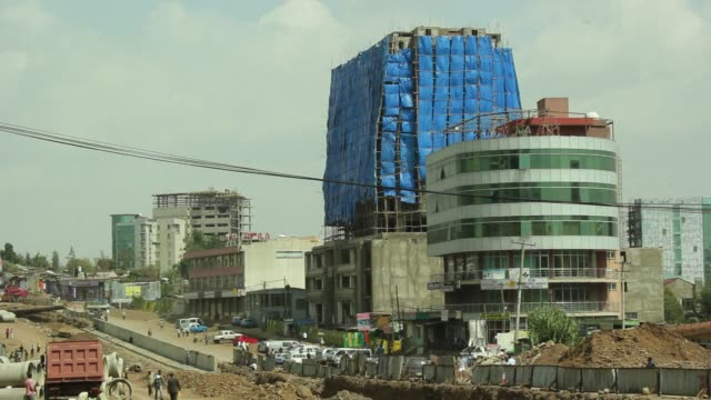 ethiopia continues to enjoy rapid economic growth outperforming many other african countries clean building boom offers hope to ethiopia's ec on... - ethiopia stock videos & royalty-free footage
