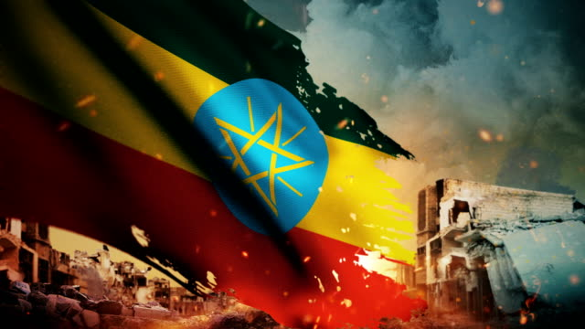 4K Ethiopia Flag - Crisis / War / Fire (Loop)