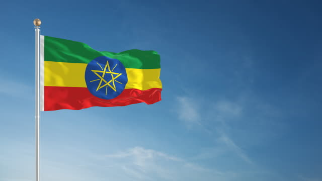 4k ethiopia flag - loopable - ethiopia stock videos and b-roll footage
