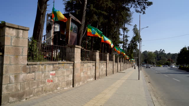 ethiopia national flags in the street / addis ababa - flag stock videos & royalty-free footage