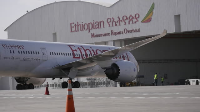 ethiopian airlines boeing 787 dreamliner outside maintenance shed at ethiopia airport - ethiopia stock videos & royalty-free footage