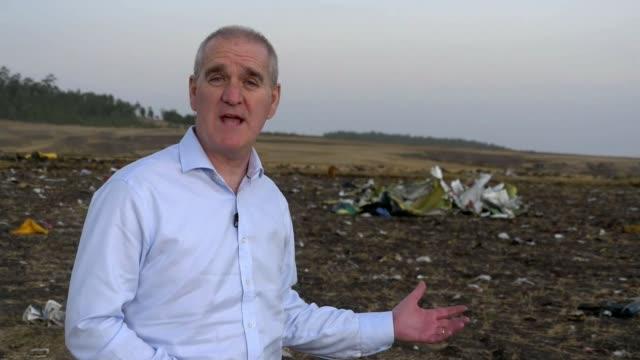 ethiopian airlines crash: black boxes from plane found at crash site; ethiopia: bishoftu: ext reporter to camera sot - ethiopia stock videos & royalty-free footage