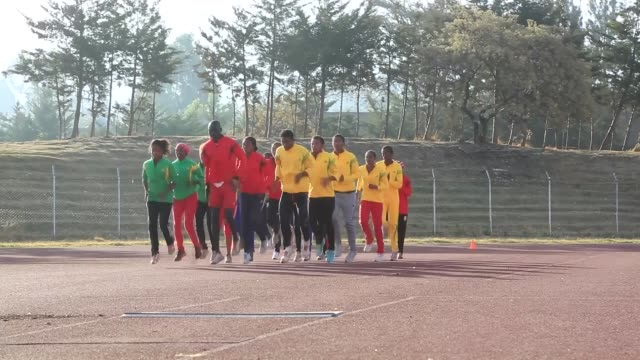 ethiopian athletes train during the training session at trunesh dibaba sports training center in arsi zone 180km southwest of addis ababa ethiopia on... - アフリカの角点の映像素材/bロール