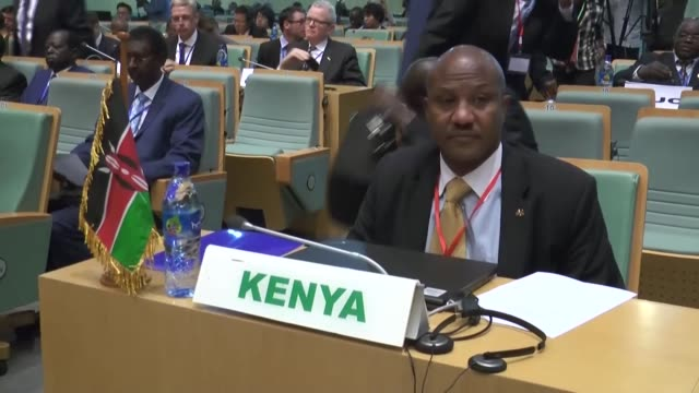 Ethiopian Foreign Minister Workneh Gebeyehu and Botswana's Former President Festus Mogae attend the InterGovernmental Authority on Development...