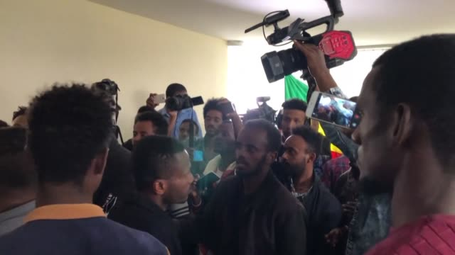 ethiopian journalist and former political prisoner eskinder nega's press conference is disrupted by half a dozen young men brandishing ethiopian... - political prisoner stock videos & royalty-free footage
