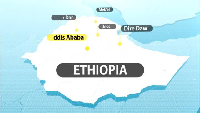 ethiopian map - etiopia video stock e b–roll