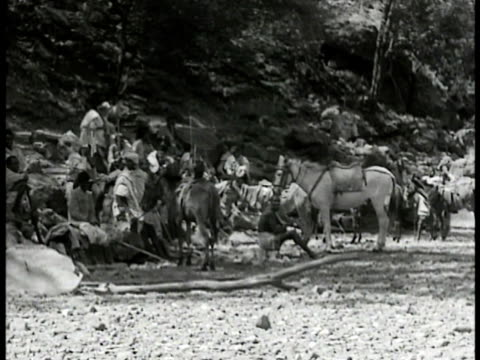 ethiopian people moving through villages along trails in mountains crossing rivers on horseback crossing plains wading river walking w/ rifles... - 1935 stock videos & royalty-free footage