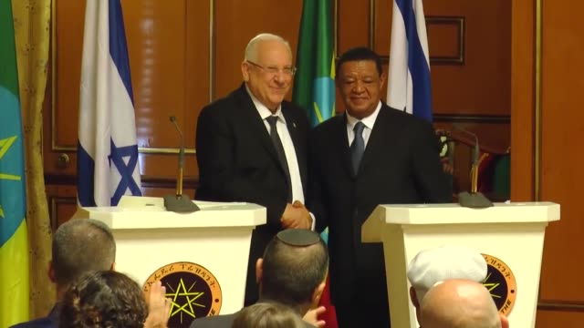 ethiopian president mulatu teshome wirtu and his israeli counterpart rueven rivlin hold a joint press conference following their meeting at the... - horn of africa stock videos & royalty-free footage