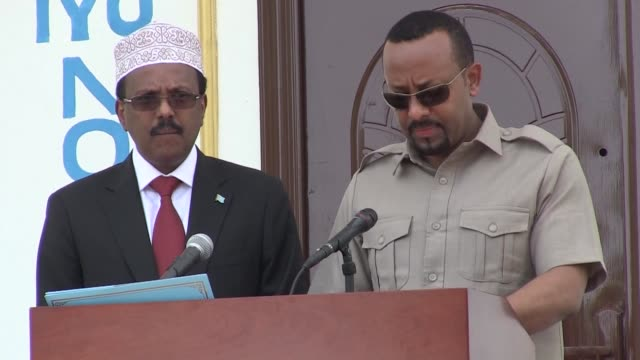 ethiopian prime minister abiy ahmed ali meets with somali president mohamed abdullahi farmajo during an official visit to mogadishu to discuss issues... - diplomacy stock videos and b-roll footage