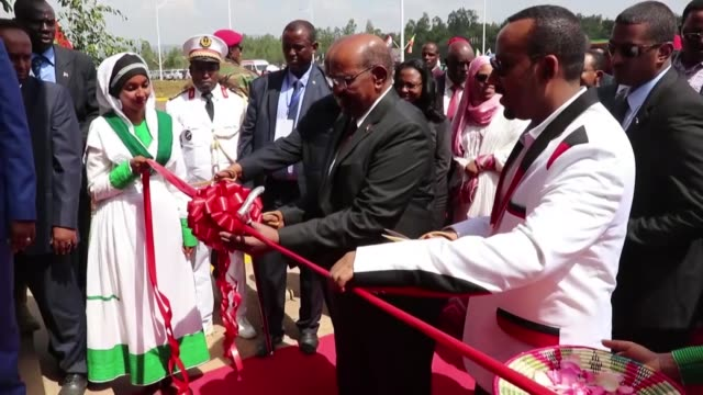 ethiopian prime minister abiy ahmed, sudanese president omar al-bashir and djibouti president ismail omar guelleh attend the inauguration of jimma... - horn of africa stock videos & royalty-free footage