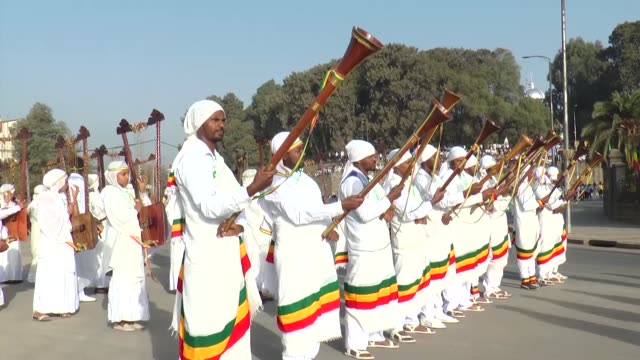 ethiopians celebrate the adwa victory day at menelik square in addis ababa ethiopia on march 02 2020 hundreds of thousands of people gathered at... - horn of africa stock videos & royalty-free footage