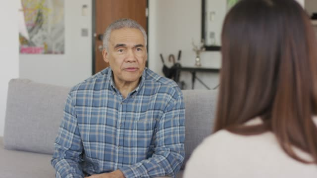 ethnic adult senior male in a therapy session - baby boomer stock videos & royalty-free footage