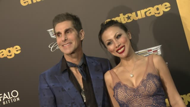 """etty lau farrell, perry farrell at """"entourage"""" los angeles premiere at regency village theatre on june 01, 2015 in westwood, california. - regency village theater stock videos & royalty-free footage"""