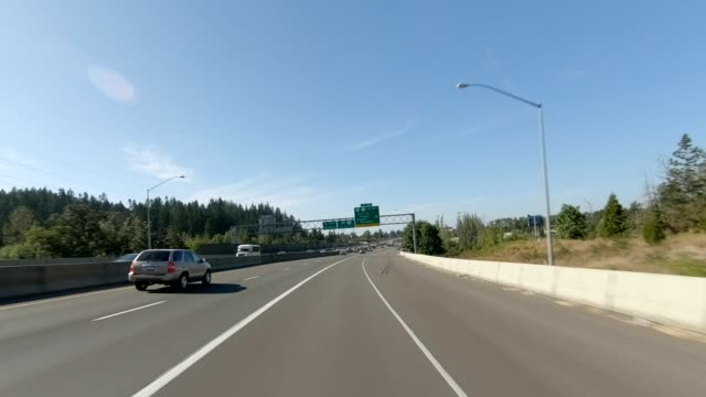 eugene highway v synced series front view driving process plate - oregon us state stock videos & royalty-free footage