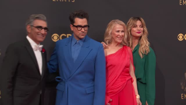 eugene levy, daniel levy, catherine o'hara, annie murphy arrive to the 73rd annual primetime emmy awards at l.a. live on september 19, 2021 in los... - emmy awards stock videos & royalty-free footage