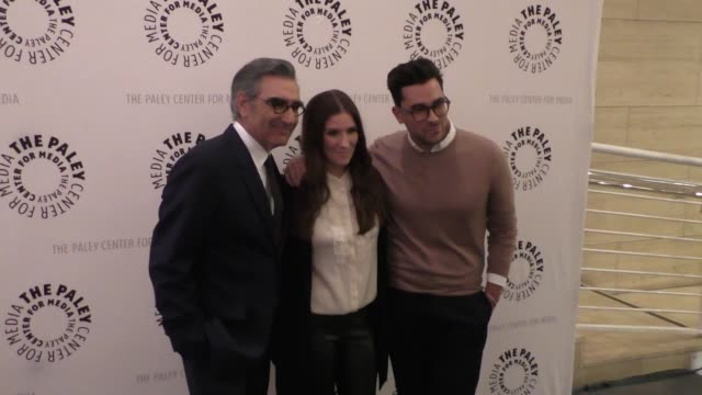 eugene levy, sarah levy & daniel levy at the paley center for media presents paleylive an evening with schitt's creek at paley center in beverly... - paley center for media los angeles stock videos & royalty-free footage