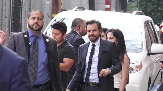 eugenio derbez waves to fans outside jimmy kimmel live at el capitan theatre in hollywood in celebrity sightings in los angeles, - el capitan theatre stock videos & royalty-free footage