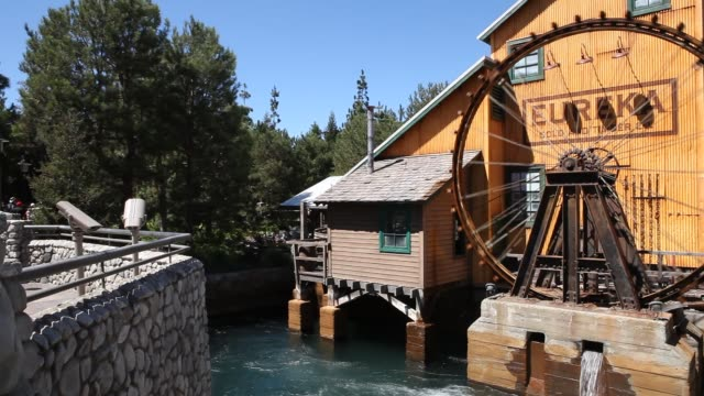 eureka gold and timber co mill at disney california adventure park which is part of the entertainment resort disneyland in anaheim california in the... - water wheel stock videos and b-roll footage