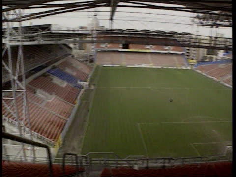 england v germany preperations c5l u'lay lib belgium charleroi stadium pan la ms seats in stand - euro 2000 stock videos & royalty-free footage