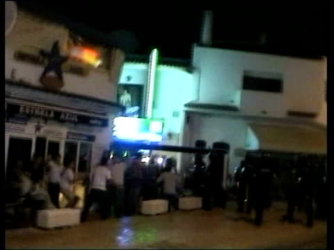 convicted hooligan pleads innocence itn portugal albufeira clashes between riot and mounted police and england fans - ポルトガル点の映像素材/bロール