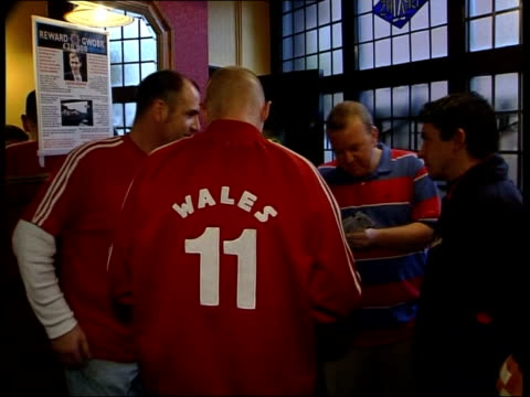 wales v russia/holland v scotland; itn wales: cardiff: int wales fans drinking pints of beer badge on shirt of wales fan tilt up as drinks beer bv... - playoffs stock videos & royalty-free footage