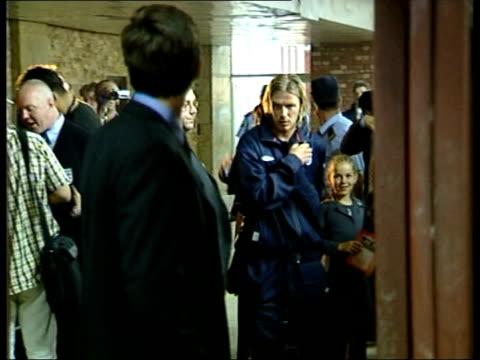 results int david beckham speaking to press sot cms beckham escorted away pan i/c - 2003 bildbanksvideor och videomaterial från bakom kulisserna