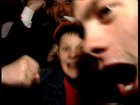 qualifying matches itv late news damon green england sunderland ext at night england supporters celebrating euro 2004 qualifying match win over... - damon green stock videos and b-roll footage