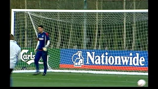 England v Croatia / Spain v Northern Ireland Hertfordshire London Colney Scott Carson at training session England Football team players along pitch