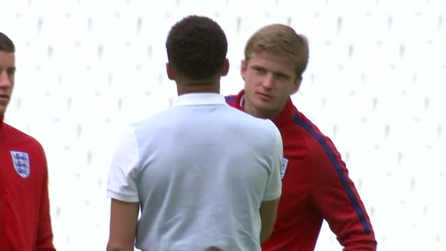England players visit Stade Velodrome England squad looking around stadium including England defender John Stones carrying the large stuffed lion toy...