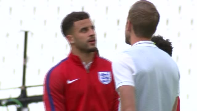 england players visit stade velodrome more of england team on pitch including sturridge harry kane kyle walker raheem sterling and john stones with... - harry kane soccer player stock videos & royalty-free footage