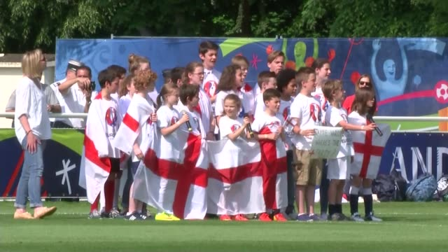 England preparations FRANCE Chantilly EXT England football team and coach Roy Hodgson at training ground as children sing British national anthem SOT...