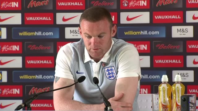 England press conference FRANCE Chantilly INT Wayne Rooney press conference SOT re England match against Iceland