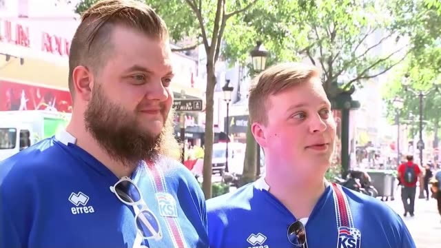 england to face iceland in knockout matches france vox pop [icelandic supporter] - euro 2016 stock videos and b-roll footage