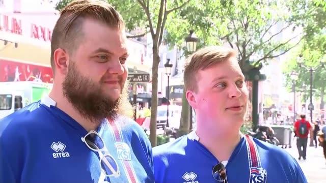 vídeos de stock, filmes e b-roll de england to face iceland in knockout matches france vox pop [icelandic supporter] - euro 2016